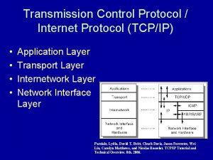Transmission Control Protocol Internet Protocol TCPIP Application Layer