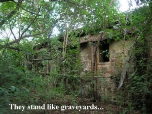 They stand like graveyards and like haunted houses