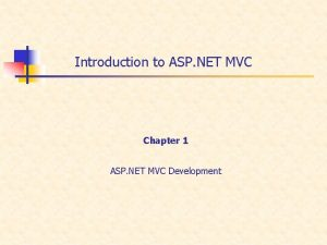 Introduction to ASP NET MVC Chapter 1 ASP