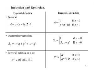 Induction and Recursion Explicit definition Recursive definition Factorial