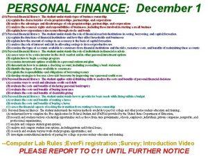 PERSONAL FINANCE December 1 16 Personal financial literacy