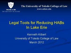 Legal Tools for Reducing HABs In Lake Erie