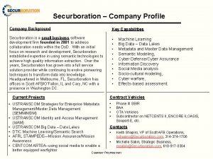 Securboration Company Profile Company Background Key Capabilities Securboration