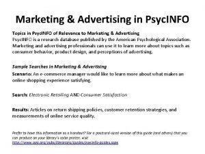 Marketing Advertising in Psyc INFO Topics in Psyc