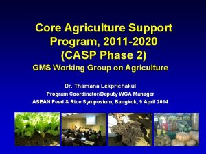 Core Agriculture Support Program 2011 2020 CASP Phase