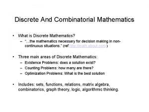 Discrete And Combinatorial Mathematics What is Discrete Mathematics