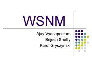 WSNM Ajay Vyasapeetam Brijesh Shetty Karol Gryczynski WSNM