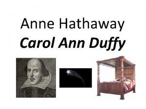 Anne Hathaway Carol Ann Duffy Epigraph Item I