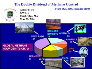 The Double Dividend of Methane Control Arlene Fiore