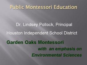 Public Montessori Education Dr Lindsey Pollock Principal Houston