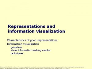 Representations and information visualization Characteristics of good representations