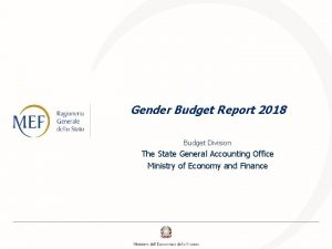 Gender Budget Report 2018 Budget Division The State
