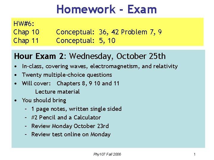Homework Exam HW6 Chap 10 Chap 11 Conceptual