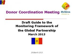Donor Coordination Meeting Draft Guide to the Monitoring