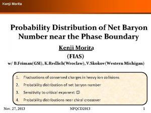 Kenji Morita Probability Distribution of Net Baryon Number