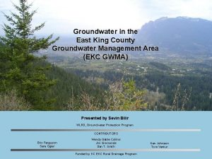 Groundwater in the East King County Groundwater Management