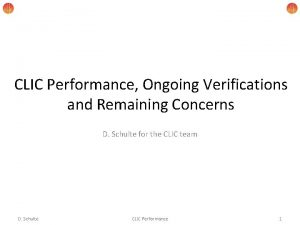 CLIC Performance Ongoing Verifications and Remaining Concerns D