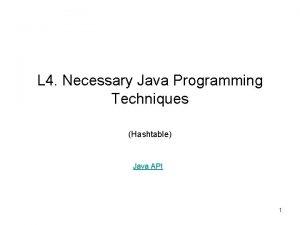 L 4 Necessary Java Programming Techniques Hashtable Java