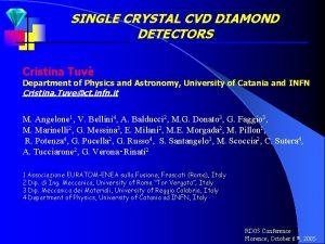 SINGLE CRYSTAL CVD DIAMOND DETECTORS Cristina Tuv Department