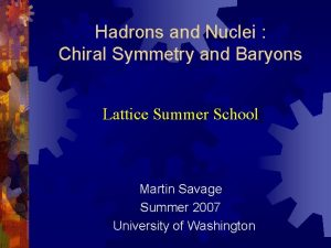 Hadrons and Nuclei Chiral Symmetry and Baryons Lattice