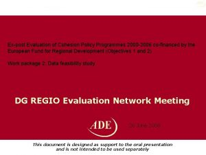 Expost Evaluation of Cohesion Policy Programmes 2000 2006