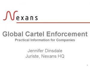 Global Cartel Enforcement Practical Information for Companies Jennifer