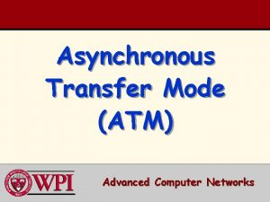 Asynchronous Transfer Mode ATM Advanced Computer Networks ATM