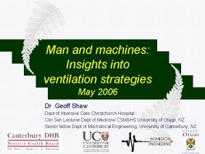 Man and machines Insights into ventilation strategies May