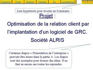 Entreprise Projet Missions Rsultat TIC Comptences Lien hypertexte