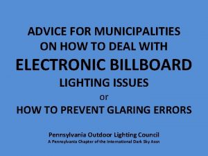 ADVICE FOR MUNICIPALITIES ON HOW TO DEAL WITH