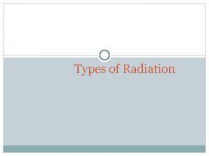Types of Radiation Electromagnetic Spectrum Gamma rays MIR