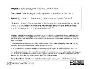 Project Ghana Emergency Medicine Collaborative Document Title Emergency