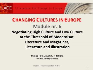 CHANGING CULTURES IN EUROPE Module nr 6 Negotiating