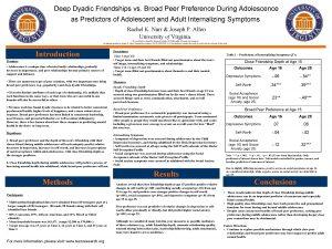 Deep Dyadic Friendships vs Broad Peer Preference During