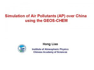 Simulation of Air Pollutants AP over China using