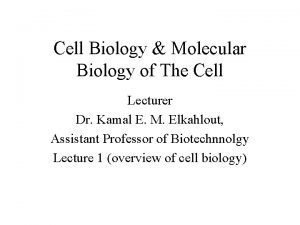 Cell Biology Molecular Biology of The Cell Lecturer