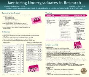 Mentoring Undergraduates in Research Linda J Carpenter Ph