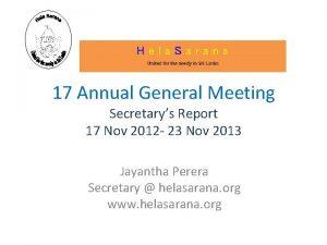 17 Annual General Meeting Secretarys Report 17 Nov