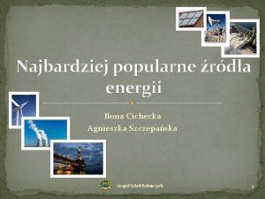 Najbardziej popularne rda energii Ilona Cichecka Agnieszka Szczepaska