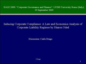 EALE 2009 Corporate Governance and Finance LUISS University