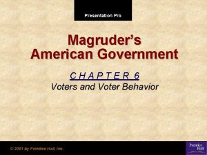 Presentation Pro Magruders American Government CHAPTER 6 Voters