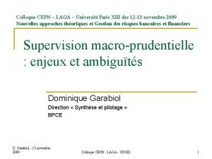 Colloque CEPN LAGA Universit Paris XIII des 12