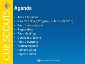 Agenda Aims Missions New Cub Scout Program Cub