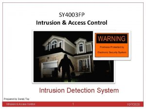 SY 4003 FP Intrusion Access Control Intrusion Detection