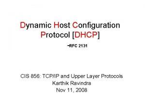 Dynamic Host Configuration Protocol DHCP RFC 2131 CIS