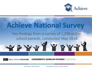 Achieve National Survey Key findings from a survey