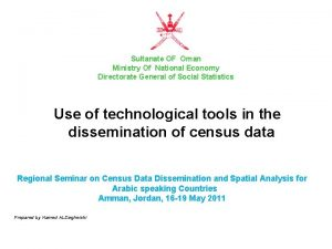 Sultanate OF Oman Ministry Of National Economy Directorate