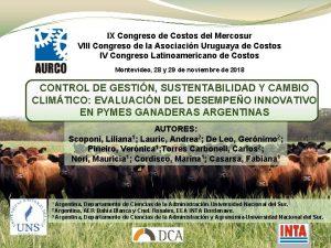 IX Congreso de Costos del Mercosur VIII Congreso