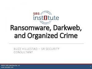 Ransomware Darkweb and Organized Crime BUZZ HILLESTAD SR
