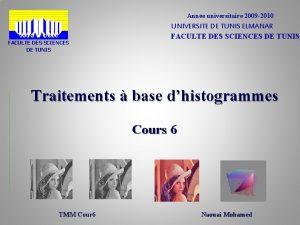 Anne universitaire 2009 2010 FACULTE DES SCIENCES DE